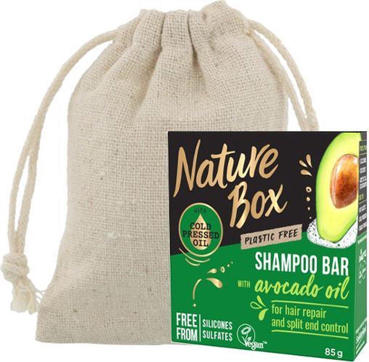 Nature Box | Shampoo Bar | Avocado| Droog en/of beschadigd Haar + Linnen Zeepzakje