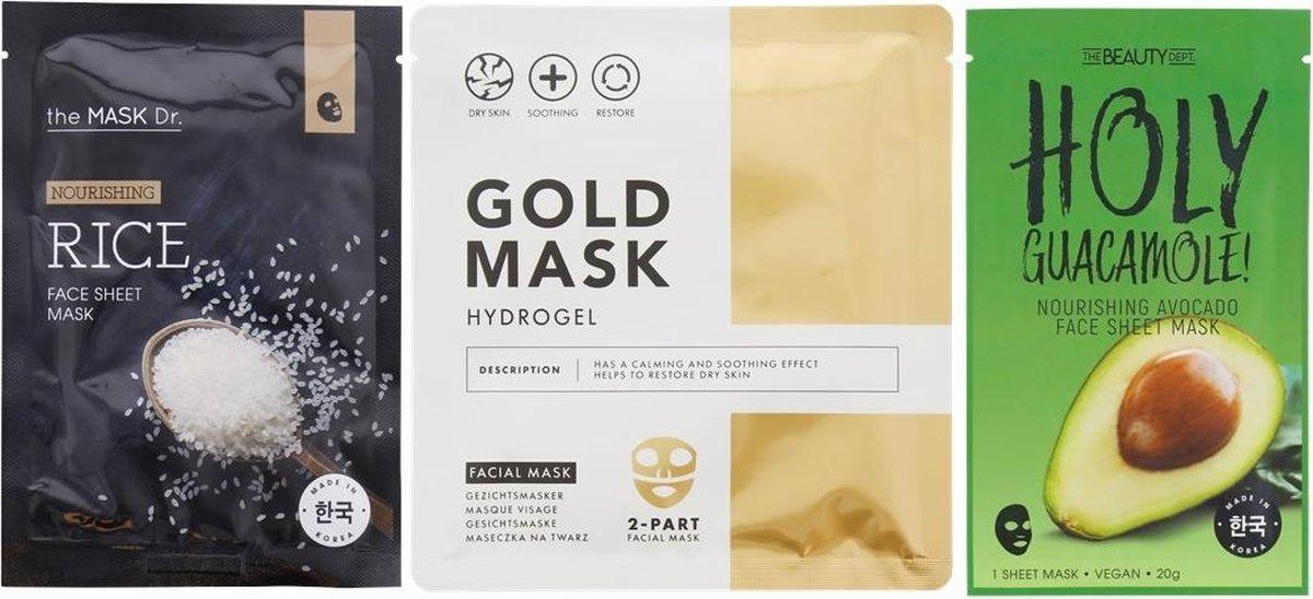 3 Gezichtsmaskers | 1x Gold Mask | 1x Koreaanse Rijst Mask | 1x Avocado Mask | 3D Mask | Vegan Mask | Droge Huid Hydrateren | Gezichtsverzorging | Huidverzorging | Skincare | Beauty Mask | Organisch
