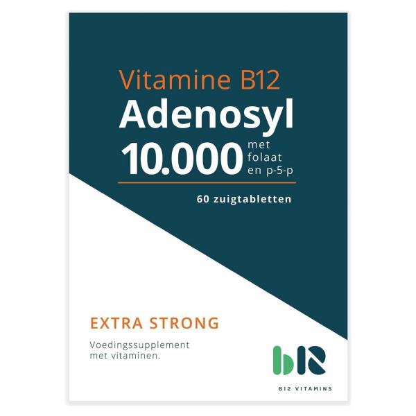 B12 Vitamins - Adenosyl 10.000 met folaat - 60 tabletten - Adenosylcobalamine, actief foliumzuur - Adenosyl - vegan - voedingssupplement