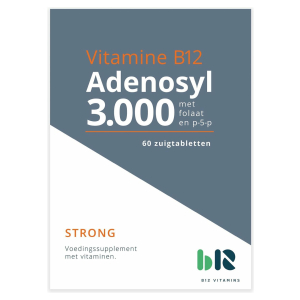B12 Vitamins - Adenosyl 3.000 met folaat - 60 tabletten - Vitamine B12 adenosylcobalamine - Adenosyl - vegan - voedingssupplement