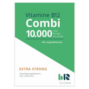 B12 Vitamins - B12 Combi 10.000 met folaat & P-5-P - 60 tabletten - Vitamine B12 methylcobalamine, adenosylcobalamine, actief foliumzuur, actieve vitamine B6 - Combi - vegan - voedingssupplement