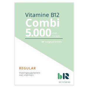 B12 Vitamins - B12 Combi 5.000 met folaat - 60 tabletten - Vitamine B12 methylcobalamine, adenosylcobalamine, actief foliumzuur - Combi - vegan - voedingssupplement