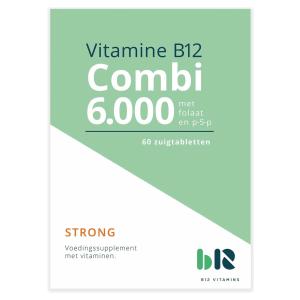 B12 Vitamins - B12 combi 6.000 met folaat & P-5-P - 60 tabletten - Vitamine B12 methylcobalamine, adenosylcobalamine, actief foliumzuur, actieve vitamine B6 - Combi - vegan - voedingssupplement