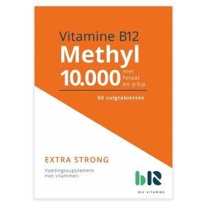 B12 Vitamins - Methyl 10.000 met folaat - 60 tabletten - Vitamine B12 methylcobalamine - Methyl - vegan - voedingssupplement