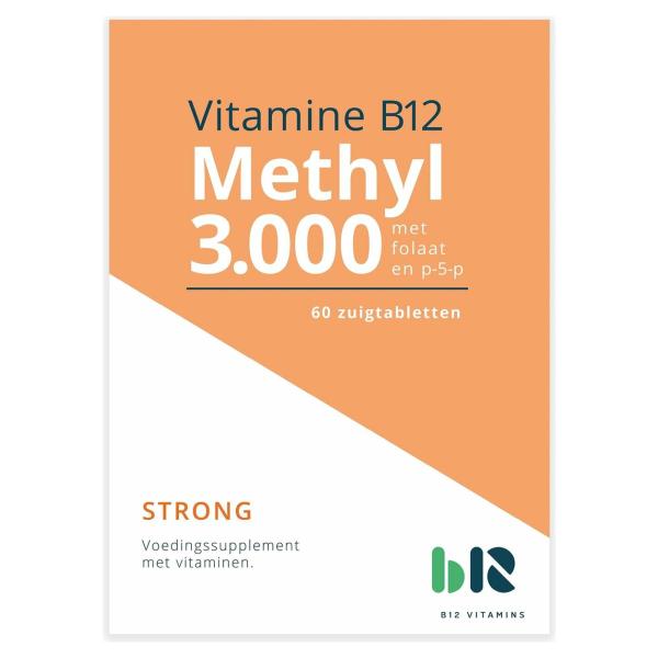 B12 Vitamins - Methyl 3.000 met folaat - 60 tabletten - Vitamine B12 methylcobalamine, actief foliumzuur - Methyl - vegan - voedingssupplement