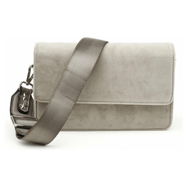 Denise Roobol - Wallet Clutch Taupe Velvet - Vegan - Clutch - Crossbody