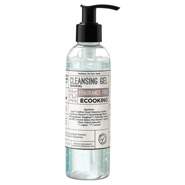 Ecooking Cleansing Gel Fragrance Free - Reinigingsgel met Vitamine E & Zonnebloemolie - Vegan & Parfumvrij - Voor de normale tot vette huid - Voor de gevoelige huid - Pompflacon 200 ml
