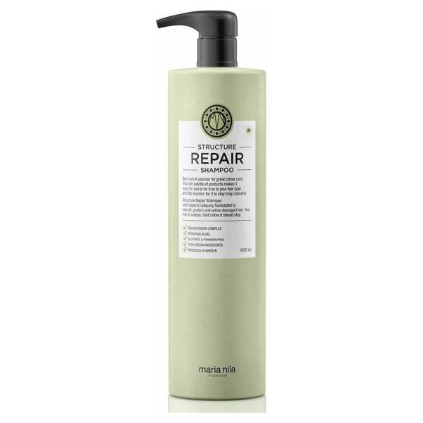Maria Nila Palett Structure Repair Shampoo-1000 ml met pomp - Normale shampoo vrouwen - Voor Alle haartypes - 1000 ml met pomp