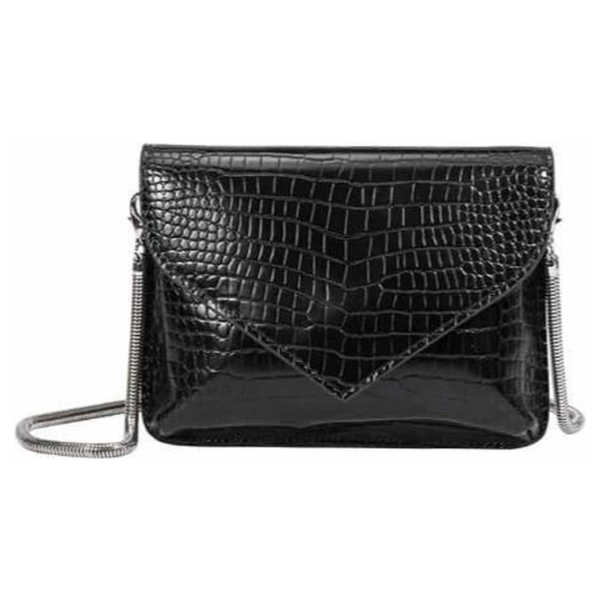 Melie Bianco - Anna Black - Vegan - Croco - Crossbody Bag - Clutch - Zwart
